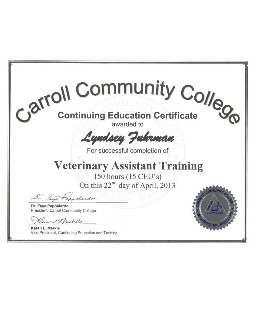 Veterinary Assistant Training completion